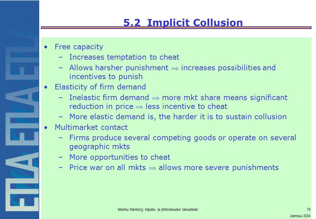 Markku Stenborg: Kilpailu- ja yhtiöoikeuden taloustiede79 Joensuu 2004 5.2 Implicit Collusion Free capacity –Increases temptation to cheat –Allows har