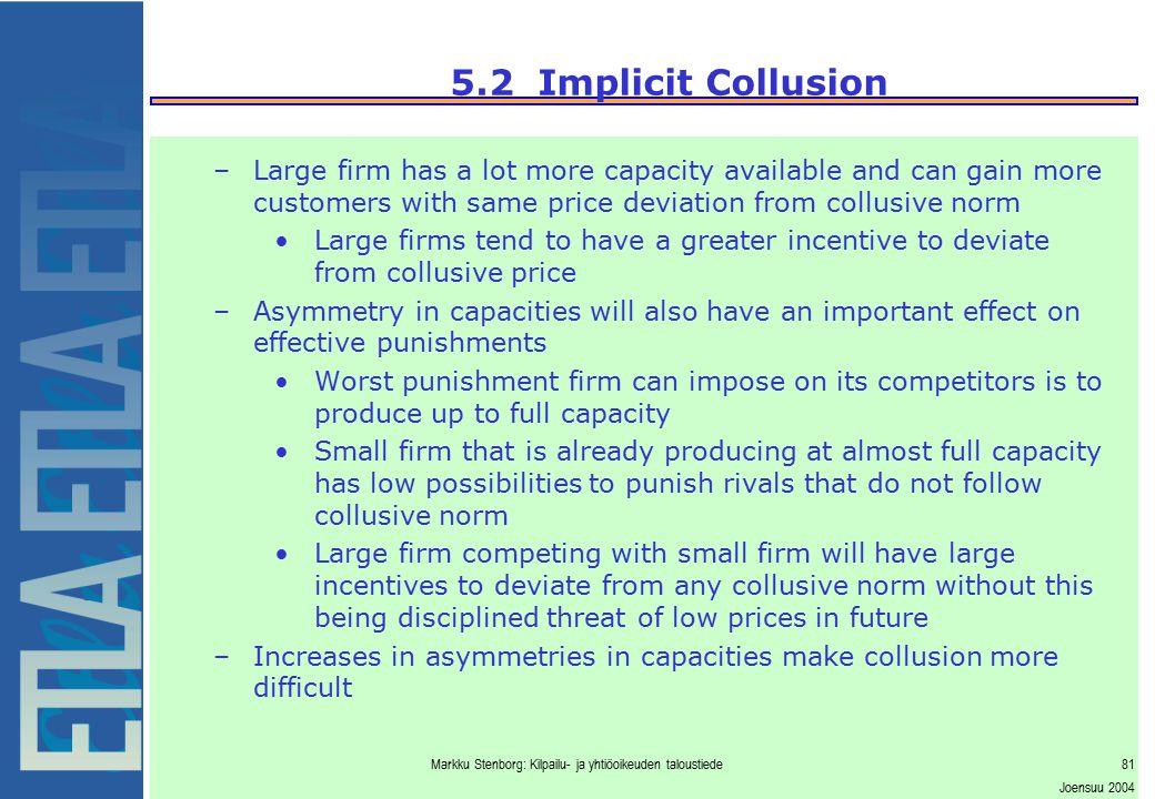 Markku Stenborg: Kilpailu- ja yhtiöoikeuden taloustiede81 Joensuu 2004 5.2 Implicit Collusion –Large firm has a lot more capacity available and can ga