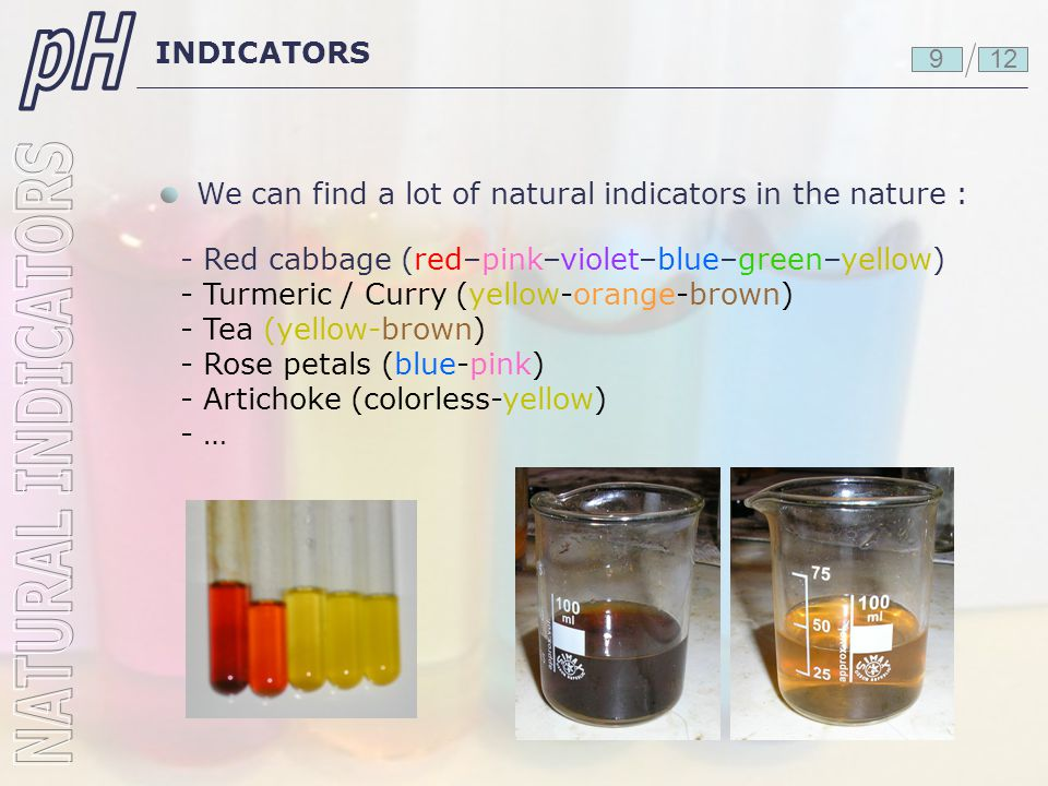 INDICATORS We can find a lot of natural indicators in the nature : 129 - Red cabbage (red–pink–violet–blue–green–yellow) - Turmeric / Curry (yellow-or