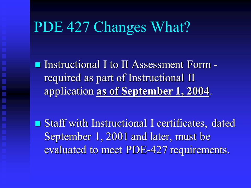 PDE 427 Changes What.