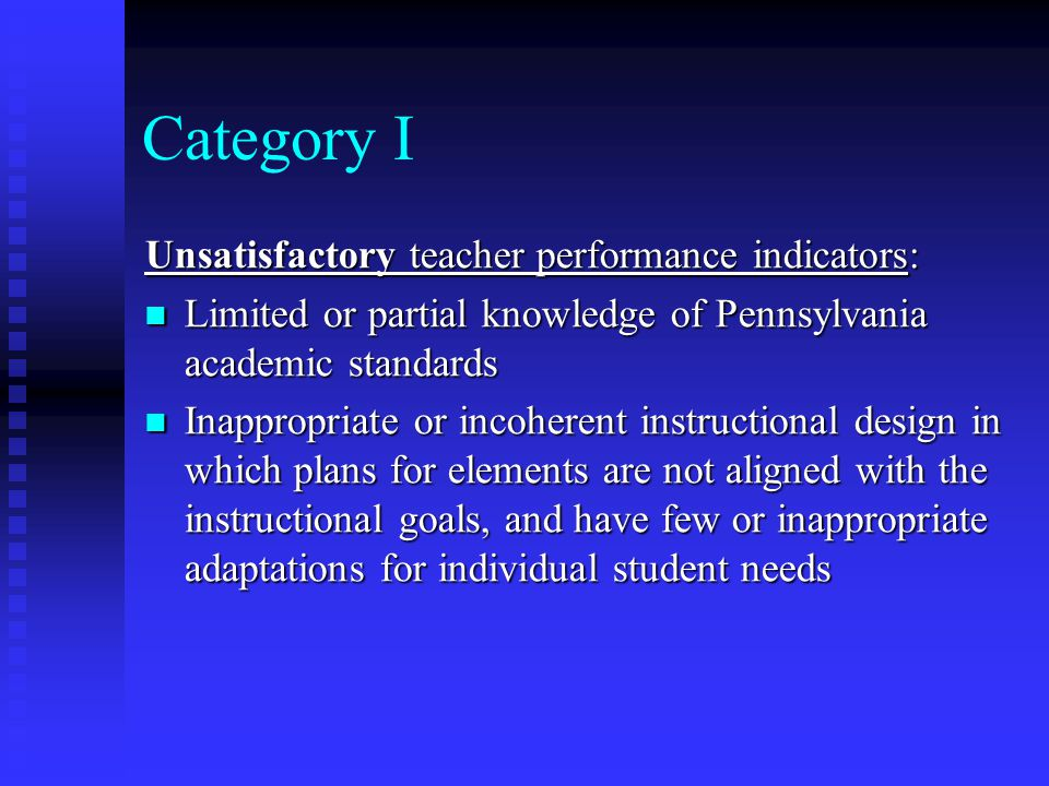 Category I Unsatisfactory teacher performance indicators: Limited or partial knowledge of Pennsylvania academic standards Limited or partial knowledge of Pennsylvania academic standards Inappropriate or incoherent instructional design in which plans for elements are not aligned with the instructional goals, and have few or inappropriate adaptations for individual student needs Inappropriate or incoherent instructional design in which plans for elements are not aligned with the instructional goals, and have few or inappropriate adaptations for individual student needs