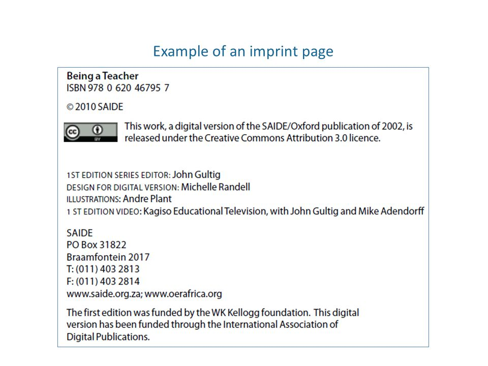 Example of an imprint page