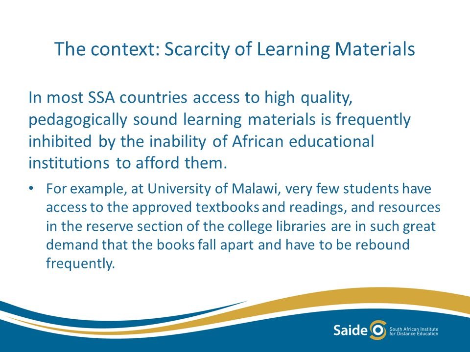 The context: Low achievement in Language and Maths related to provision of learning materials (Grade 6 systemic evaluation in South Africa in 2005) From Fleisch, B.2008.