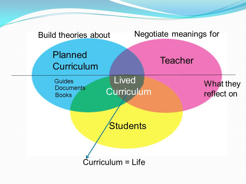 Teacher Students Planned Curriculum Guides Documents Books Lived Curriculum What they reflect on Build theories about Negotiate meanings for Curriculu