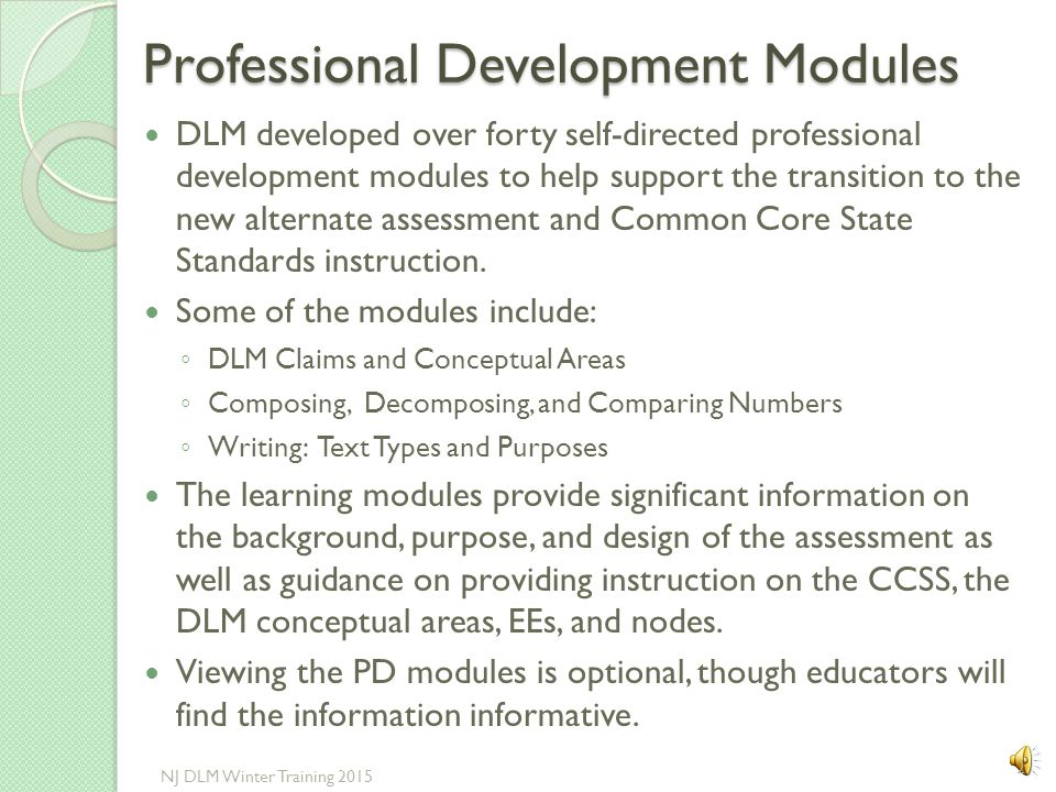 Note: This page is from the DLM NJ website and is for the Technical Liaison This is from the KITE page 12 NJ DLM Winter Training 2015