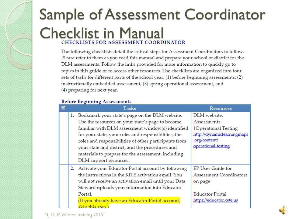 Sample of Assessment Coordinator Checklist in Manual 4 NJ DLM Winter Training 2015