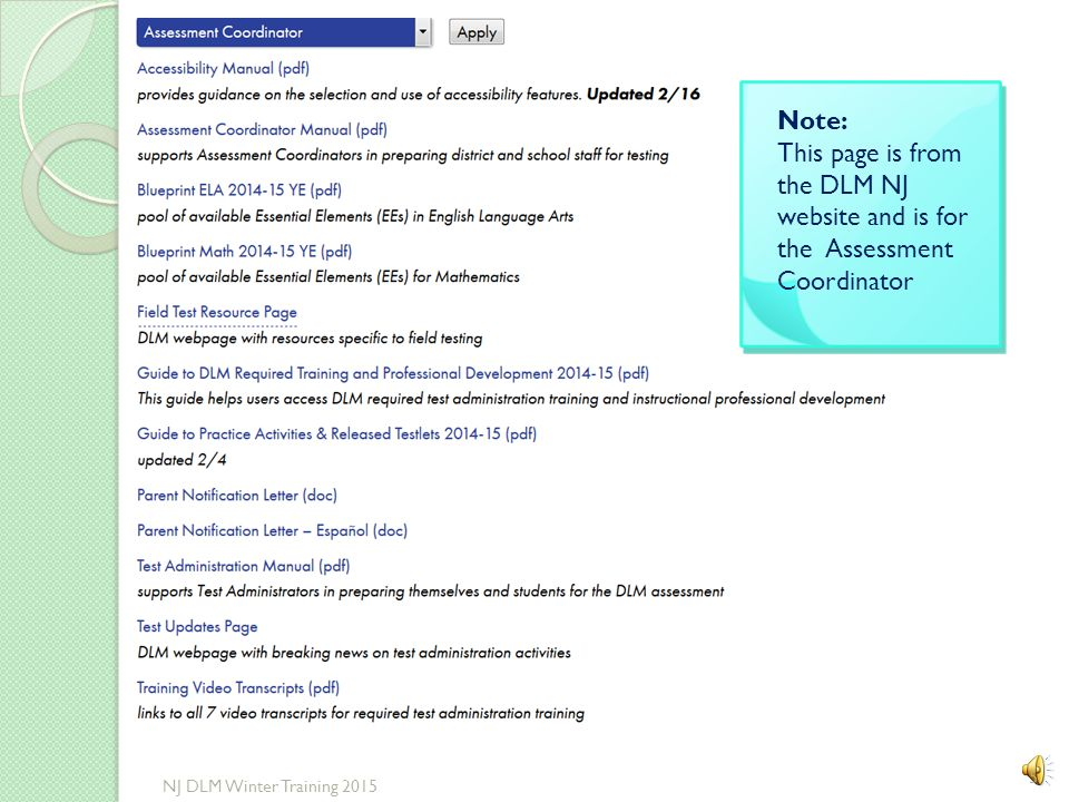 Testlet Information Page 35 NJ DLM Winter Training 2015
