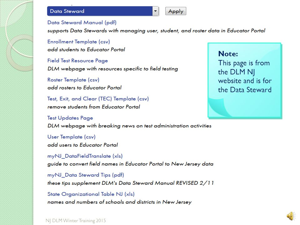 Sample of Data Steward Checklist in Manual 7 NJ DLM Winter Training 2015