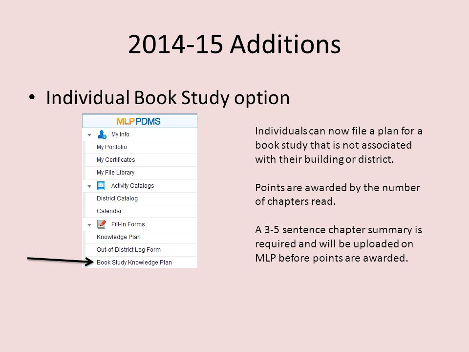 2014-15 Additions Individual Book Study option Individuals can now file a plan for a book study that is not associated with their building or district.