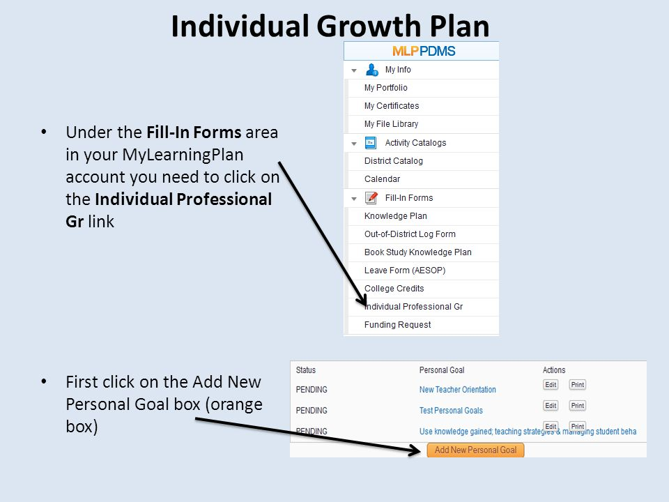 Individual Growth Plan Under the Fill-In Forms area in your MyLearningPlan account you need to click on the Individual Professional Gr link First click on the Add New Personal Goal box (orange box)