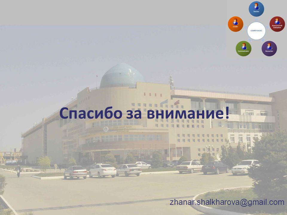 Спасибо за внимание! zhanar.shalkharova@gmail.com