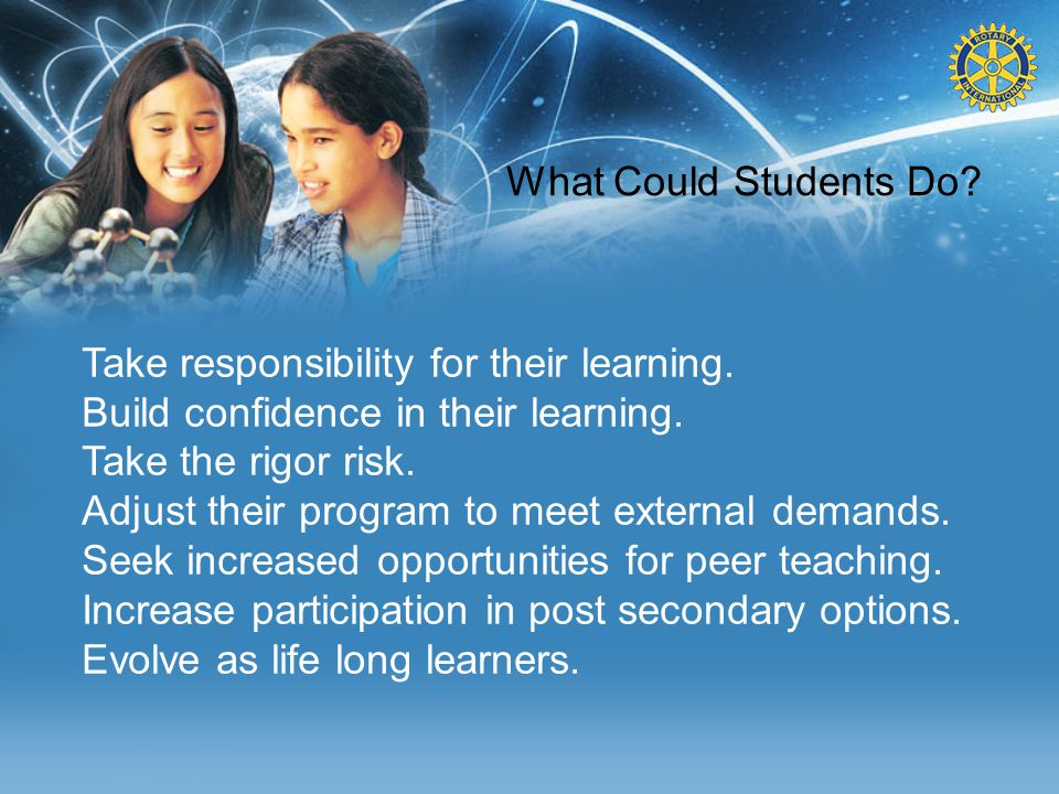 What Could Students Do? Take responsibility for their learning. Build confidence in their learning. Take the rigor risk. Adjust their program to meet