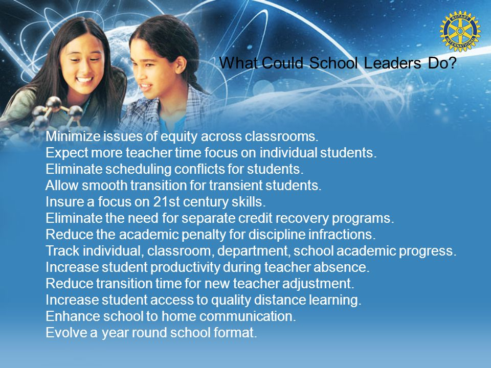 What Could School Leaders Do? Minimize issues of equity across classrooms. Expect more teacher time focus on individual students. Eliminate scheduling