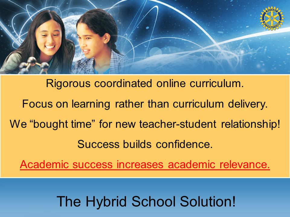 """The Hybrid School Solution! Rigorous coordinated online curriculum. Focus on learning rather than curriculum delivery. We """"bought time"""" for new teache"""