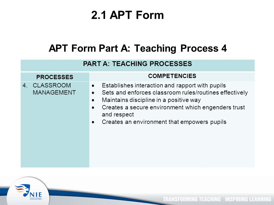 2.1 APT Form APT Form Part A: Teaching Process 4 PART A: TEACHING PROCESSES PROCESSES COMPETENCIES 4.CLASSROOM MANAGEMENT  Establishes interaction and rapport with pupils  Sets and enforces classroom rules/routines effectively  Maintains discipline in a positive way  Creates a secure environment which engenders trust and respect  Creates an environment that empowers pupils