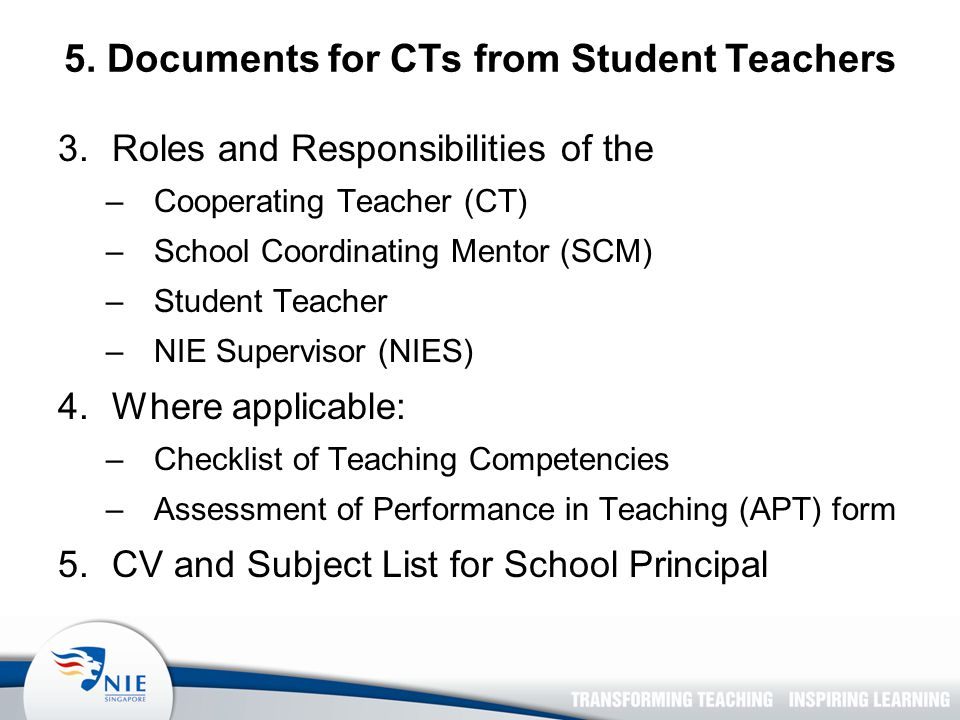 5. Documents for CTs from Student Teachers 3.Roles and Responsibilities of the –Cooperating Teacher (CT) –School Coordinating Mentor (SCM) –Student Te