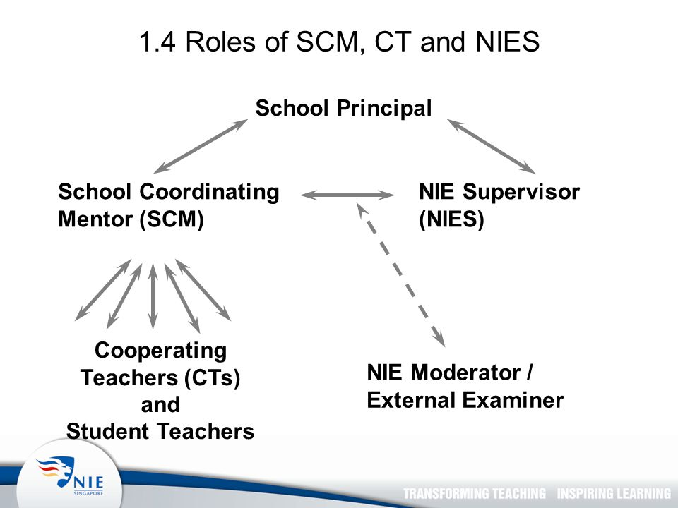 School Coordinating Mentor (SCM) Cooperating Teachers (CTs) and Student Teachers NIE Supervisor (NIES) NIE Moderator / External Examiner School Principal 1.4 Roles of SCM, CT and NIES