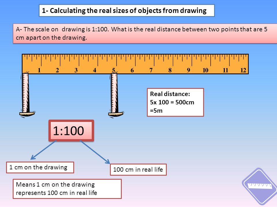 A- The scale on drawing is 1:100.