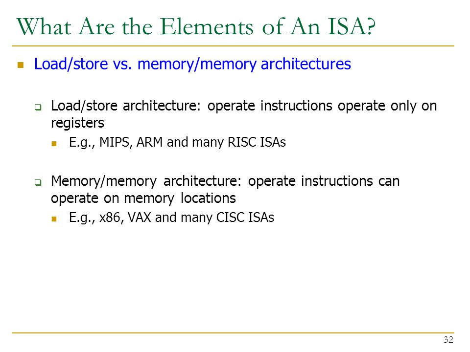 What Are the Elements of An ISA. Load/store vs.