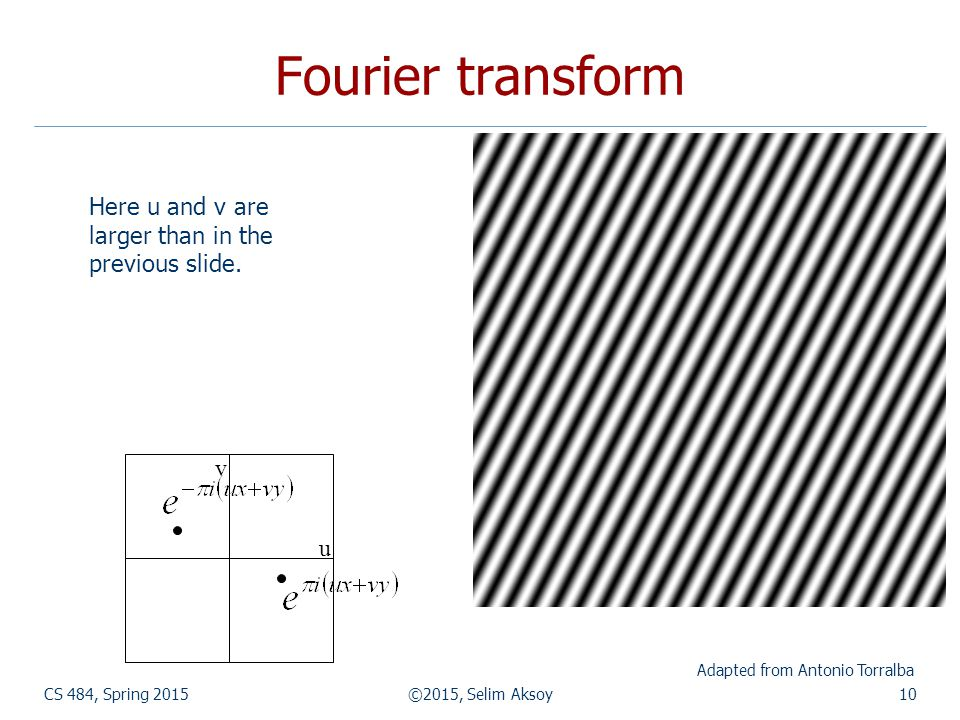 Fourier transform CS 484, Spring 2015©2015, Selim Aksoy10 Adapted from Antonio Torralba Here u and v are larger than in the previous slide. u v