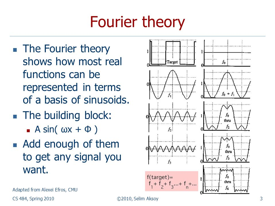 CS 484, Spring 2010©2010, Selim Aksoy3 Fourier theory The Fourier theory shows how most real functions can be represented in terms of a basis of sinus