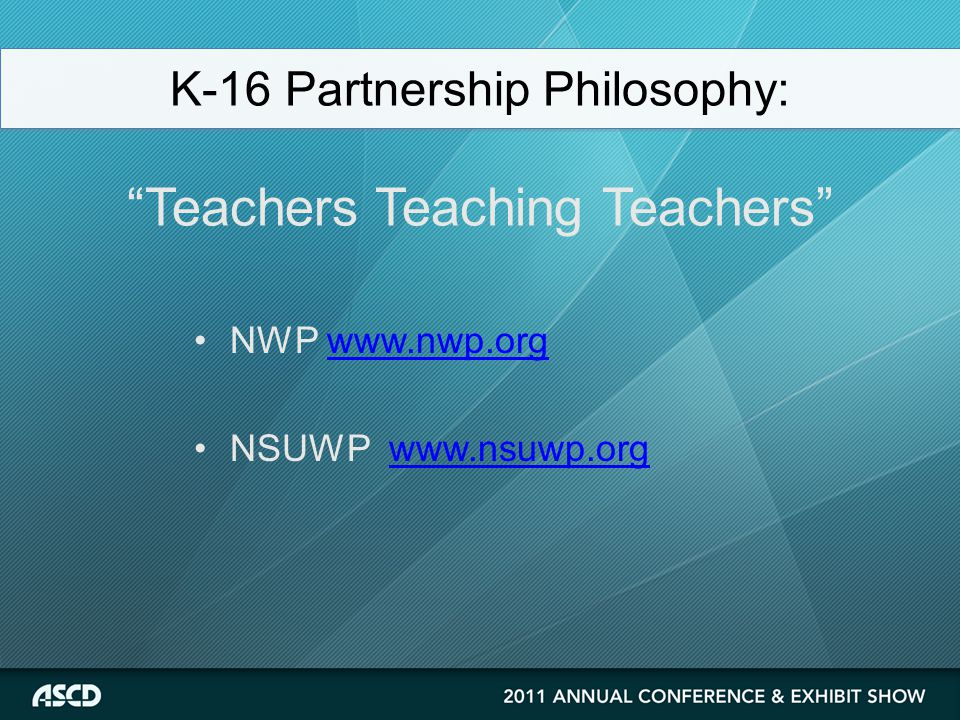 NWP www.nwp.orgwww.nwp.org NSUWP www.nsuwp.orgwww.nsuwp.org K-16 Partnership Philosophy: Teachers Teaching Teachers