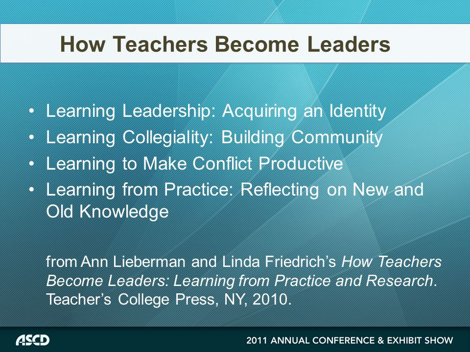 Learning Leadership: Acquiring an Identity Learning Collegiality: Building Community Learning to Make Conflict Productive Learning from Practice: Reflecting on New and Old Knowledge from Ann Lieberman and Linda Friedrich's How Teachers Become Leaders: Learning from Practice and Research.