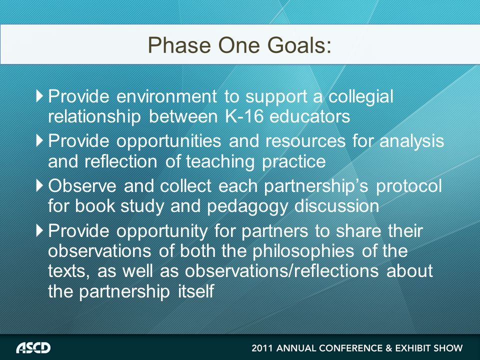  Provide environment to support a collegial relationship between K-16 educators  Provide opportunities and resources for analysis and reflection of teaching practice  Observe and collect each partnership's protocol for book study and pedagogy discussion  Provide opportunity for partners to share their observations of both the philosophies of the texts, as well as observations/reflections about the partnership itself Phase One Goals: