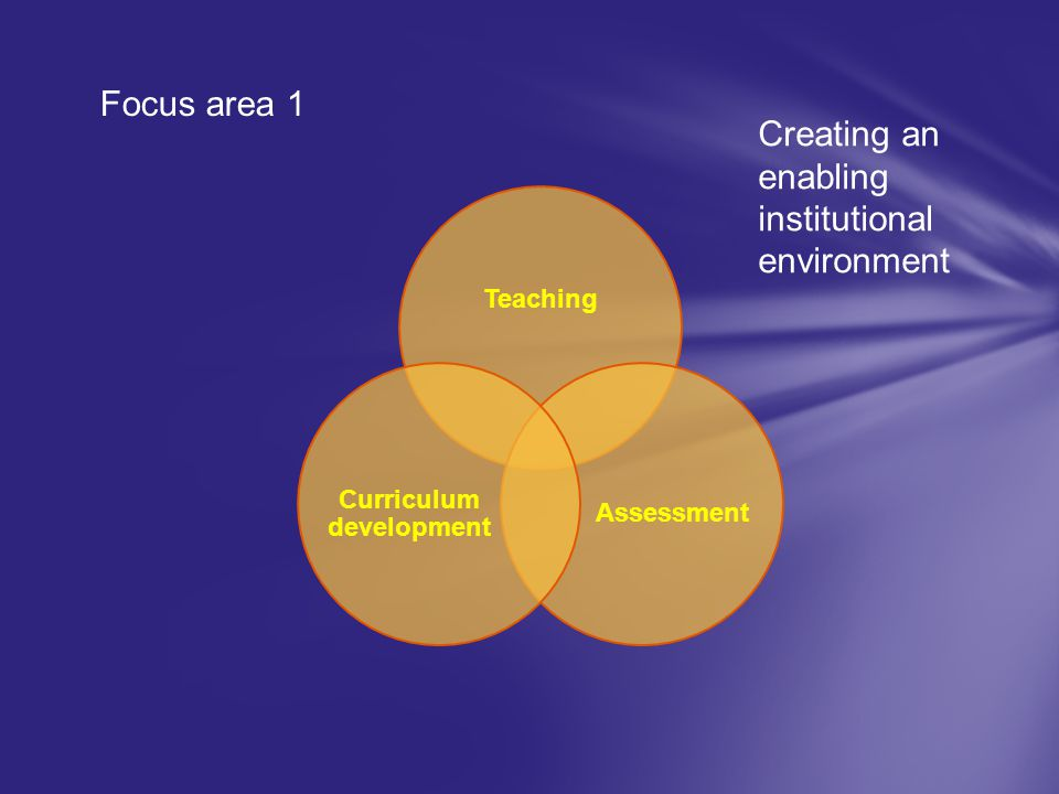 Teaching Assessment Curriculum development Focus area 1 Creating an enabling institutional environment