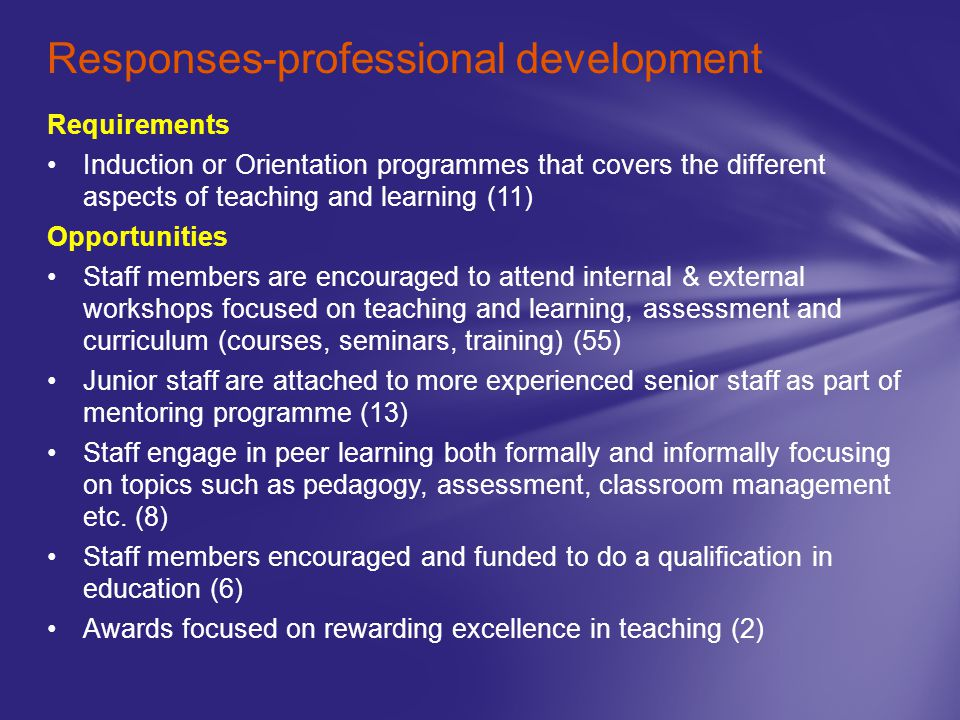 Requirements Induction or Orientation programmes that covers the different aspects of teaching and learning (11) Opportunities Staff members are encou