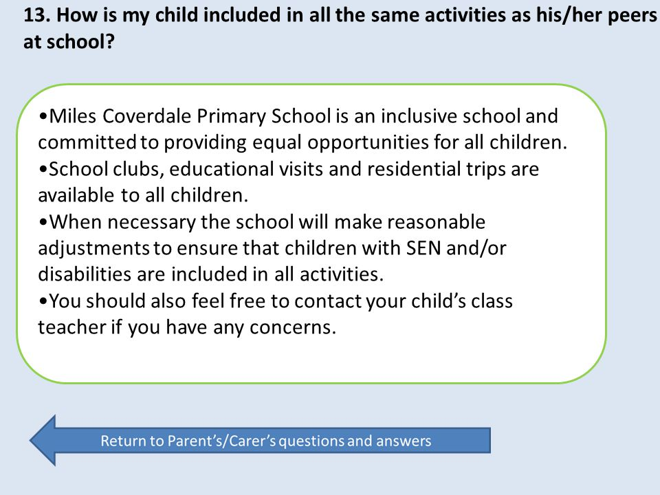 Miles Coverdale Primary School is an inclusive school and committed to providing equal opportunities for all children. School clubs, educational visit
