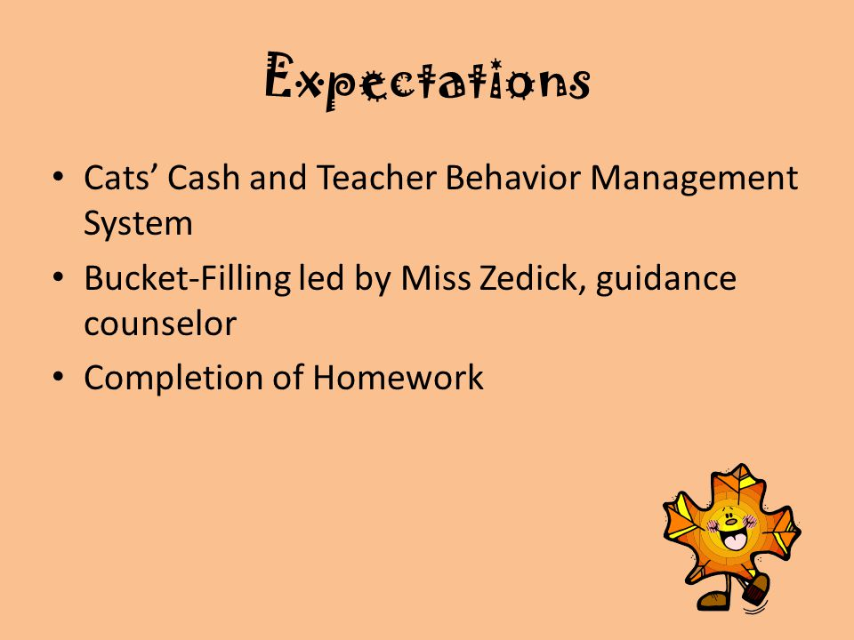 Expectations Cats' Cash and Teacher Behavior Management System Bucket-Filling led by Miss Zedick, guidance counselor Completion of Homework