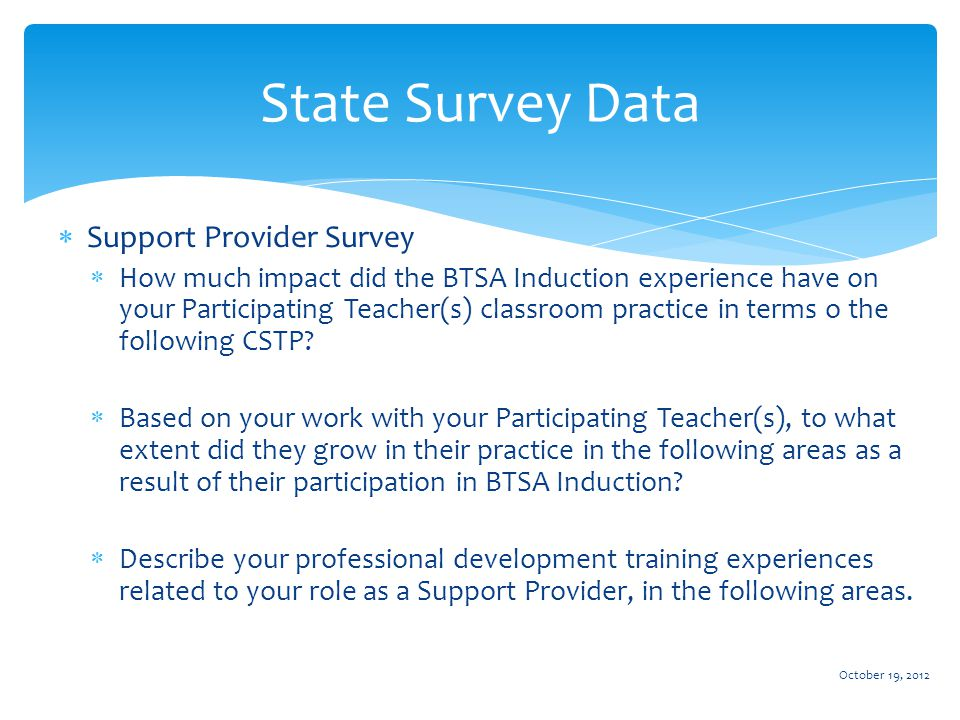  Support Provider Survey  How much impact did the BTSA Induction experience have on your Participating Teacher(s) classroom practice in terms o the following CSTP.