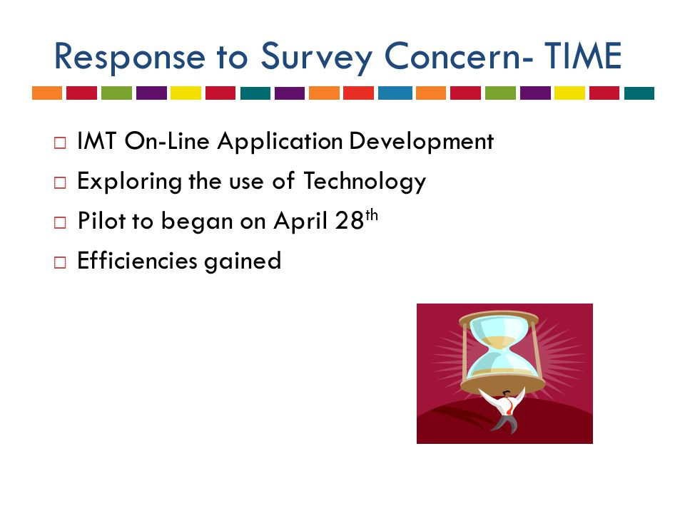 Response to Survey Concern- TIME  IMT On-Line Application Development  Exploring the use of Technology  Pilot to began on April 28 th  Efficiencie