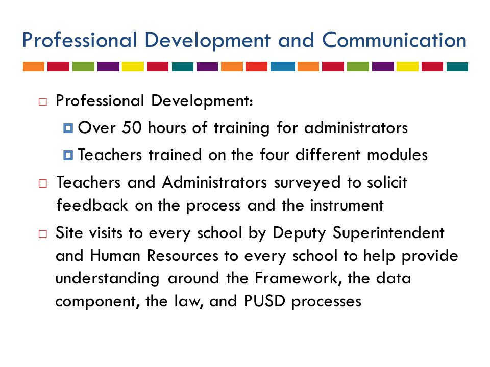 Professional Development and Communication  Professional Development:  Over 50 hours of training for administrators  Teachers trained on the four d