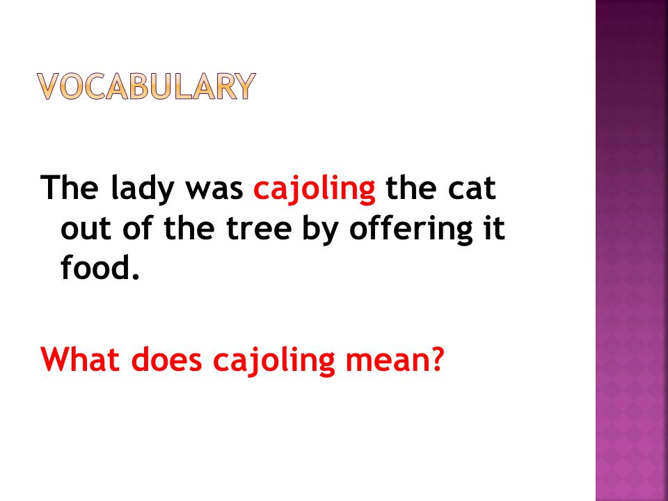 The lady was cajoling the cat out of the tree by offering it food. What does cajoling mean?