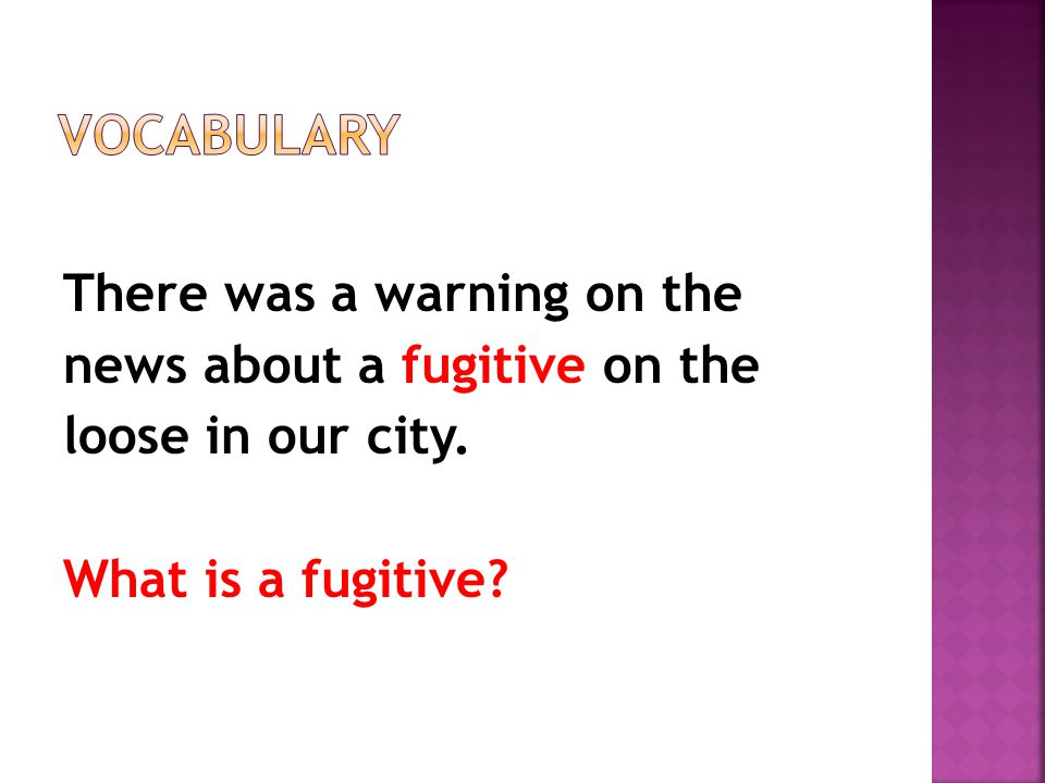 There was a warning on the news about a fugitive on the loose in our city. What is a fugitive?