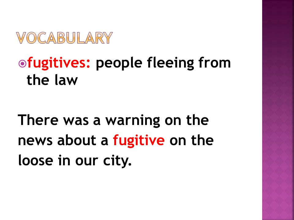  fugitives: people fleeing from the law There was a warning on the news about a fugitive on the loose in our city.