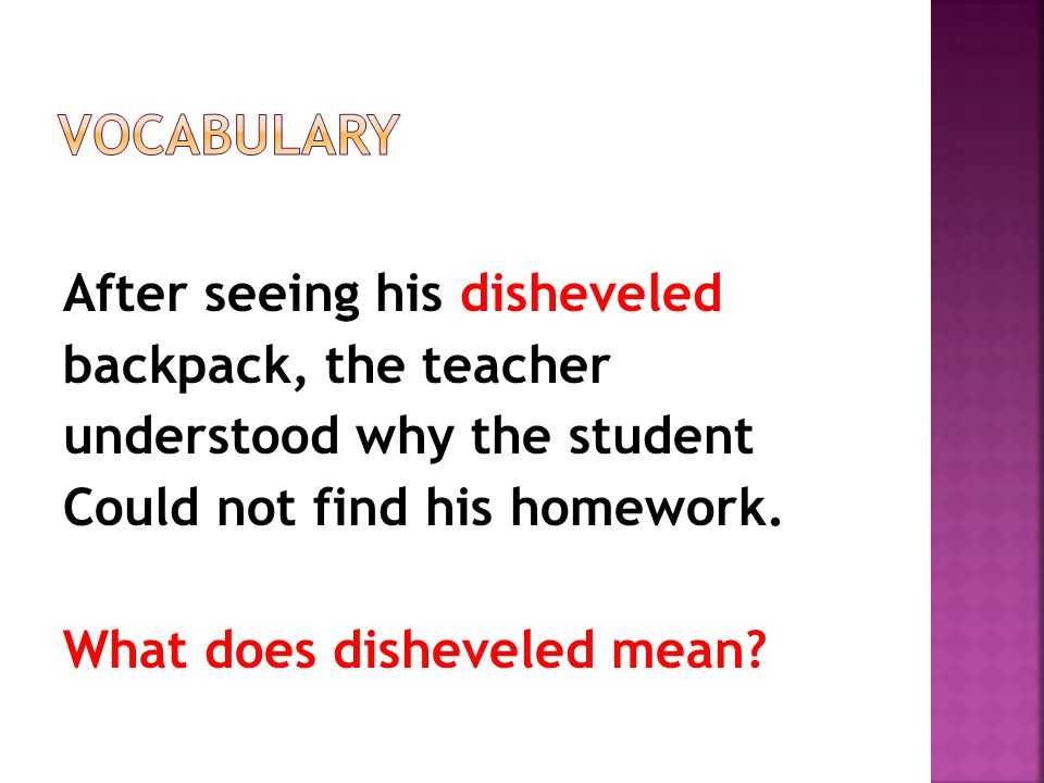 After seeing his disheveled backpack, the teacher understood why the student Could not find his homework.