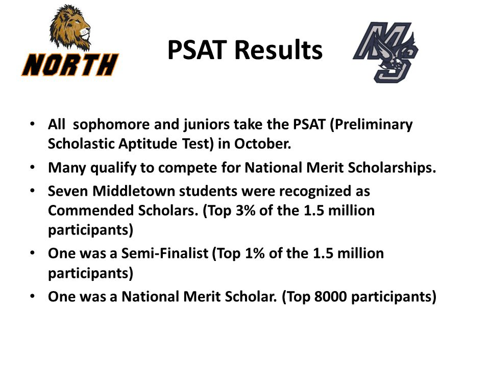PSAT Results All sophomore and juniors take the PSAT (Preliminary Scholastic Aptitude Test) in October. Many qualify to compete for National Merit Sch