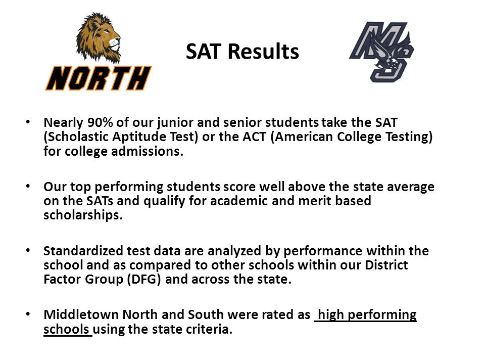 SAT Results Nearly 90% of our junior and senior students take the SAT (Scholastic Aptitude Test) or the ACT (American College Testing) for college adm