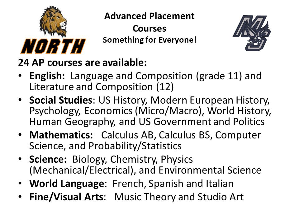 Advanced Placement Courses Something for Everyone! 24 AP courses are available: English: Language and Composition (grade 11) and Literature and Compos