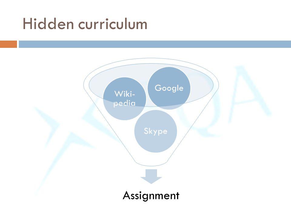 Assignment Skype Wiki- pedia Google Hidden curriculum
