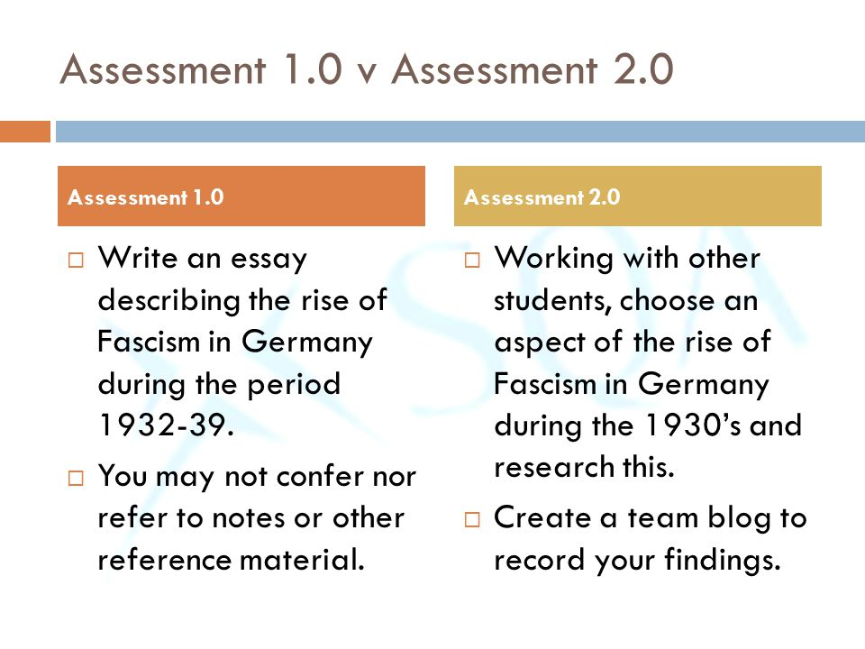 Assessment 1.0 v Assessment 2.0  Write an essay describing the rise of Fascism in Germany during the period 1932-39.  You may not confer nor refer t