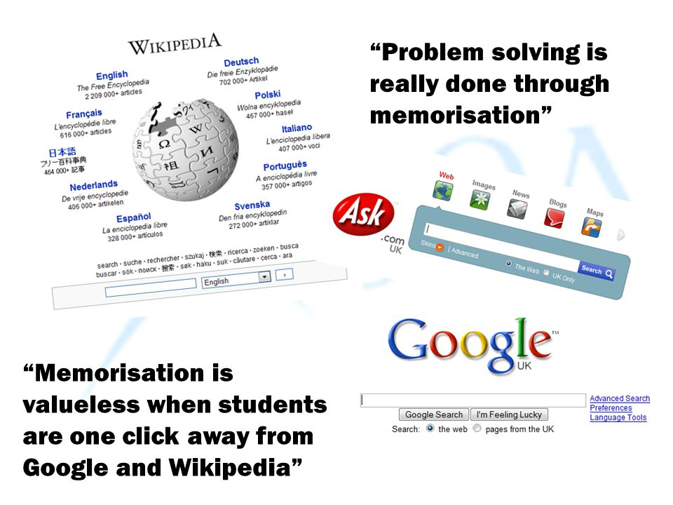 """""""Memorisation is valueless when students are one click away from Google and Wikipedia"""" """"Problem solving is really done through memorisation"""""""