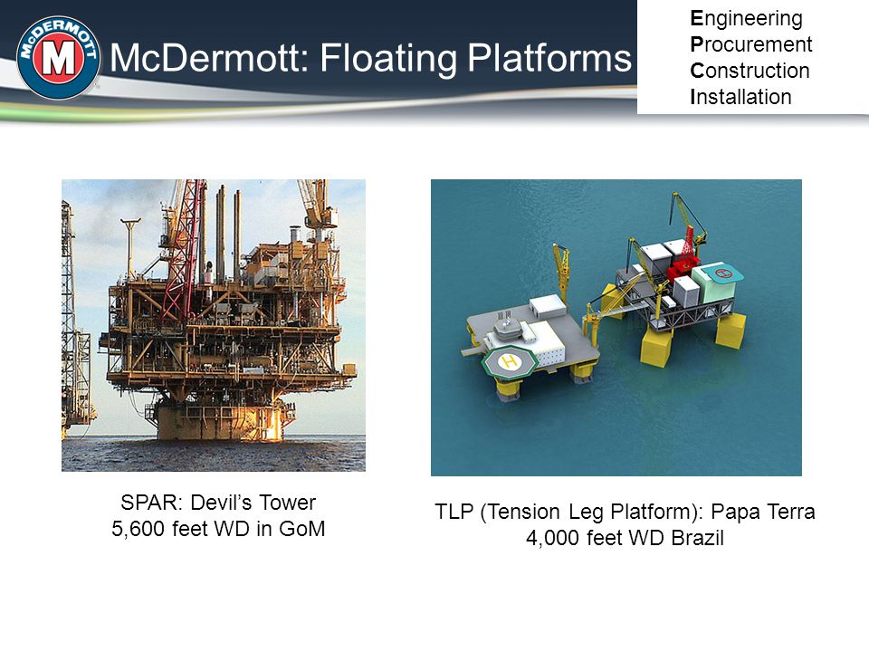 McDermott: Fixed Platforms Engineering Procurement Construction Installation Jackets: Shallow water to 1,500 feet WD Compliant Towers: 1,200 – 3,000 feet WD