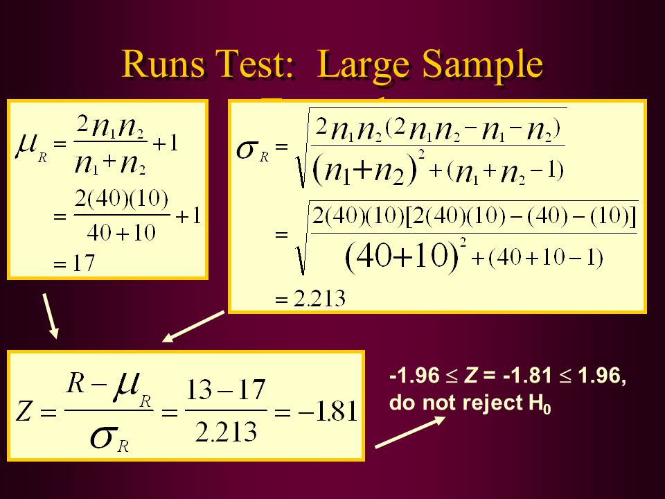 Runs Test: Large Sample Example -1.96  Z = -1.81  1.96, do not reject H 0