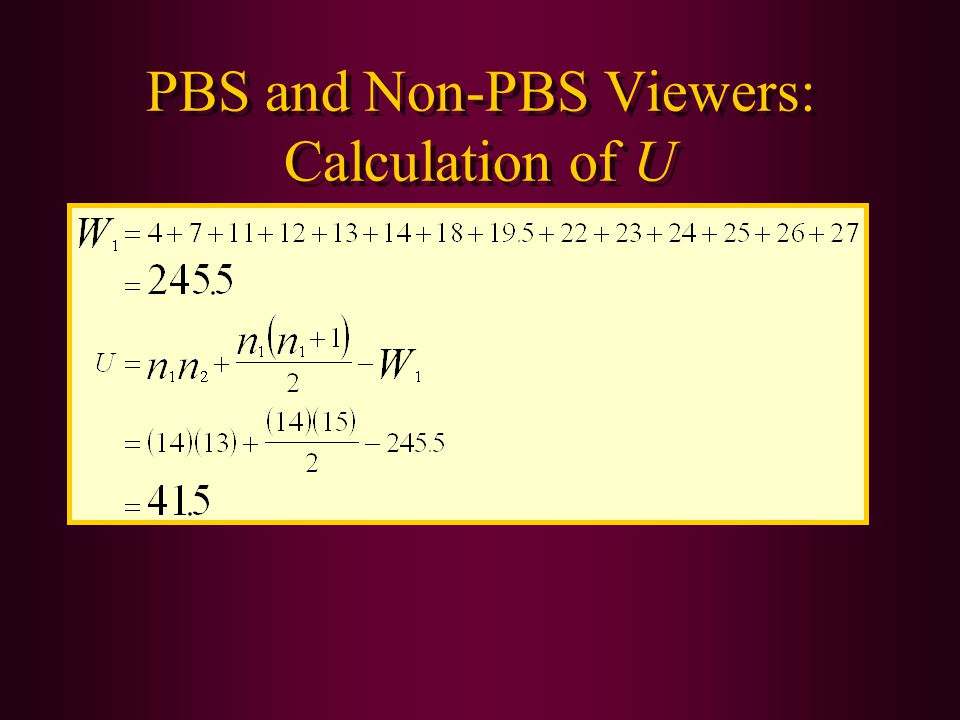 PBS and Non-PBS Viewers: Calculation of U