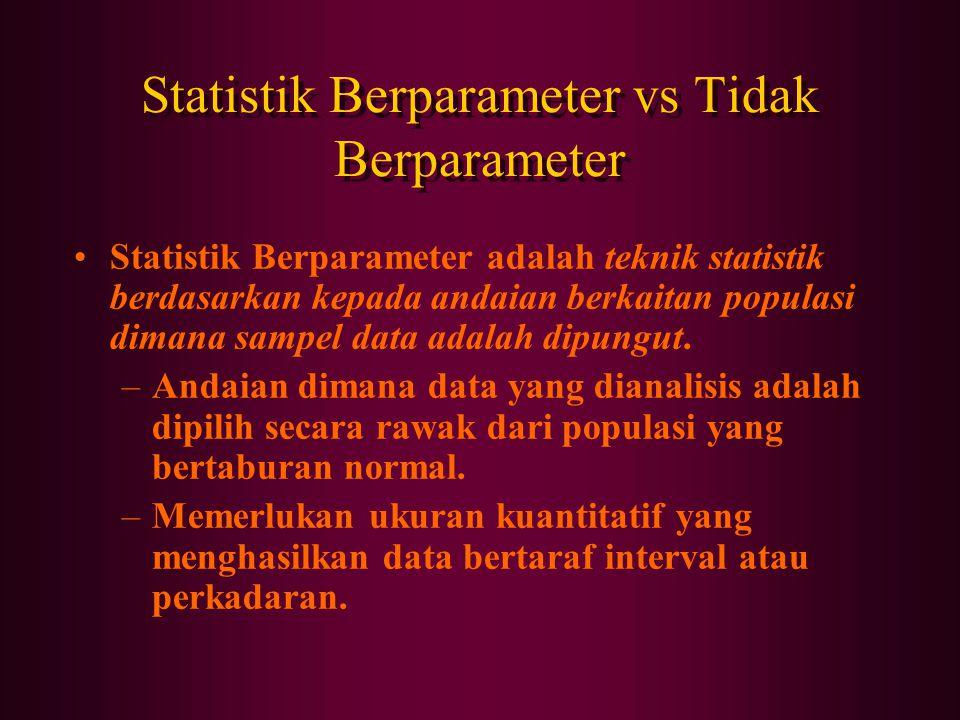 Statistik Berparameter vs Tidak Berparameter Statistik Berparameter adalah teknik statistik berdasarkan kepada andaian berkaitan populasi dimana sampel data adalah dipungut.
