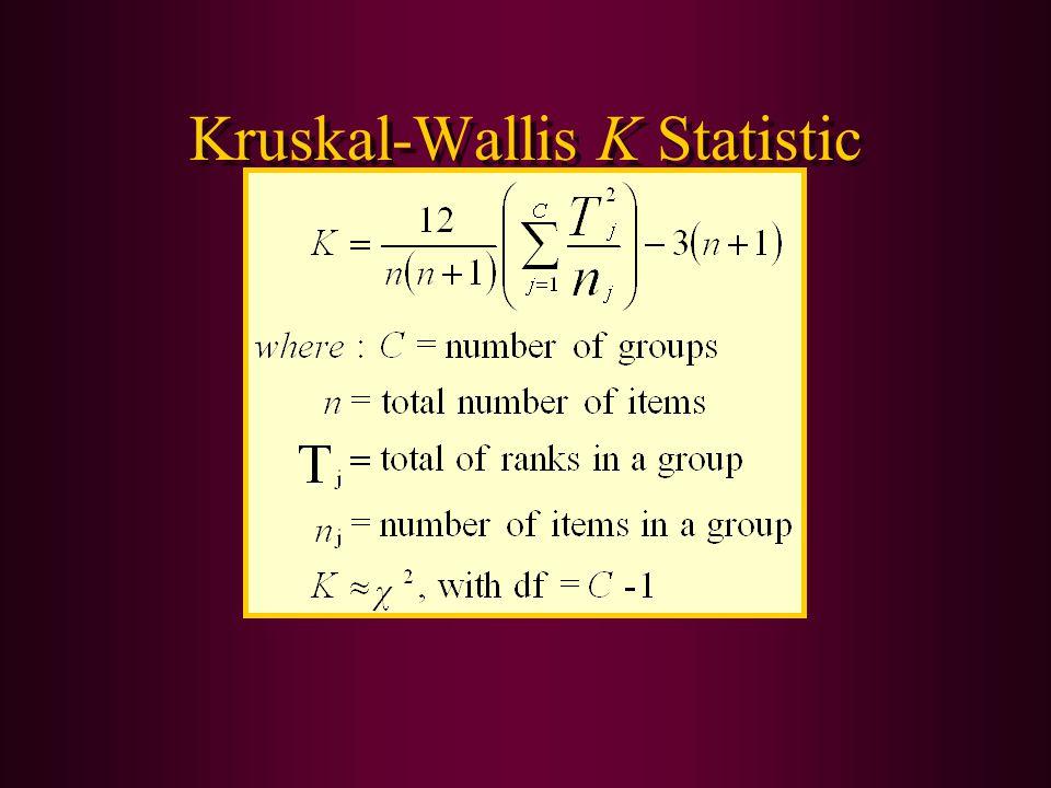 Kruskal-Wallis K Statistic